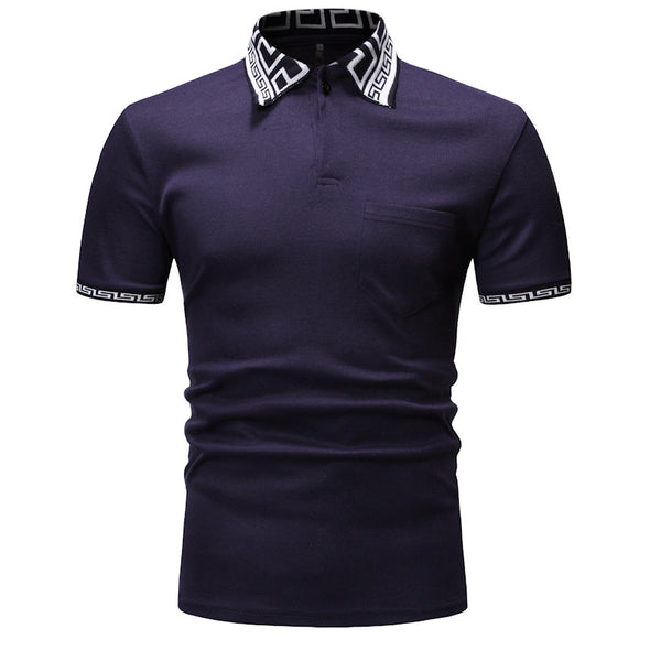 Men's Personalized Contrast Thread Cotton Comfortable Polo