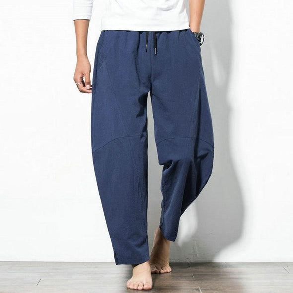 Mens Casual Baggy 100% Cotton Loose Wide Leg Pants