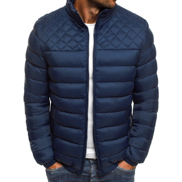 Men's Stand Collar Solid Color Down Jacket