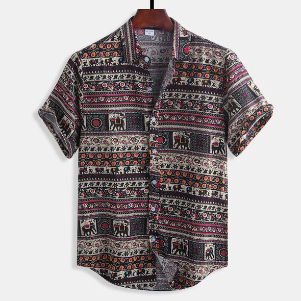 Floral Printing Ethnic Style Cotton Shirts Short Sleeve-9