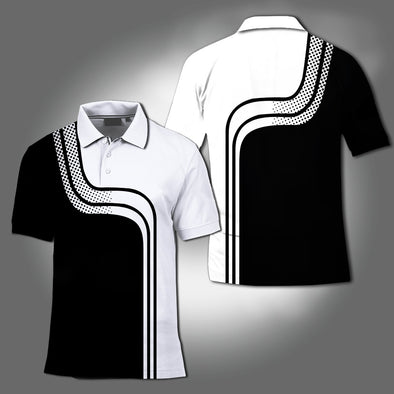 2020 New Men Fashion Print Casual Polo T-shirt