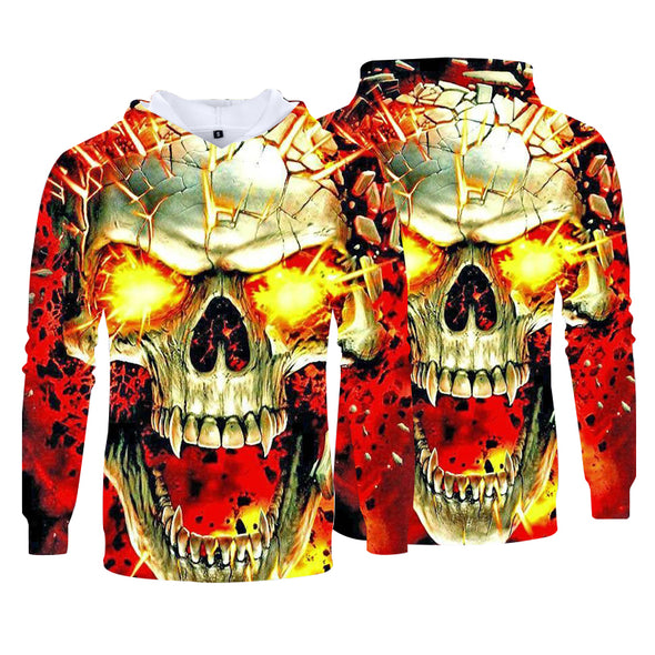 Men Fashion 3D Pattern Printing Casual Pullover Hoodies
