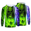 Men Fashion Caual 3D Print Green Skull Pattern Hoodies