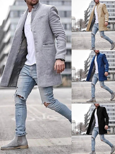 Explosive Autumn and Winter Fashion Trend Windbreaker Men's Lapel Coat