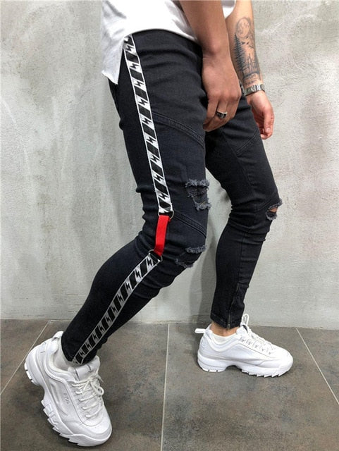 Fashion Jeans Men Pants Men Skinny Embroidery Streetwear Ripped Man Slim Fit  Zipper Hip Hop Harajuku Male Jeans Homme Denim