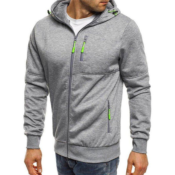 Men Cotton Solid Color Zipper Pullover Hoodies