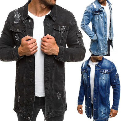 Long Men's Casual Denim Ripped Beggar Jacket