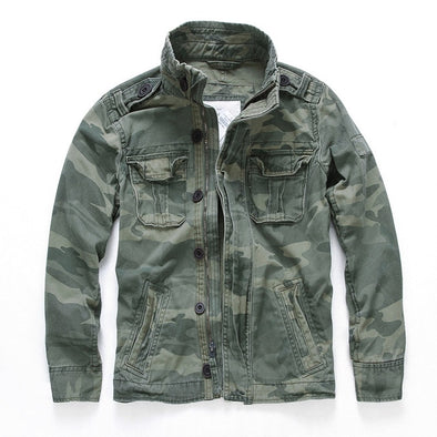 Men Camouflage Combat Jackets Retro Military Pocket Men's Denim Macket Outwear Army Coats Casual Male Cotton Size New