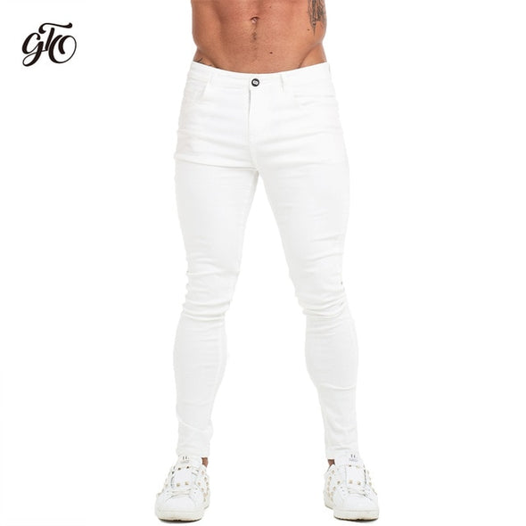 GINGTTO Jeans Men Elastic Waist Skinny Jeans Men 2020 Stretch Ripped Pants Streetwear Mens Denim Jeans Blue