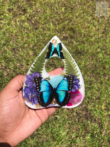 Dyed Agate/Blue Butterfly Resin Planchette Display