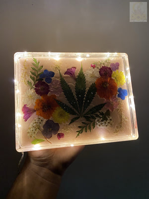 Peach Bouquet LED Rolling Tray ( Medium )