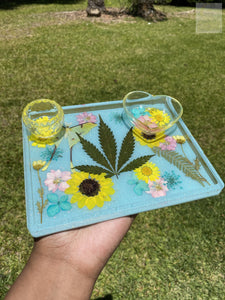Spring Time Blues Medium Rolling Tray