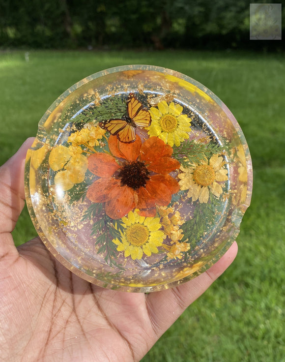 Orange Round Sunflower Ashtray