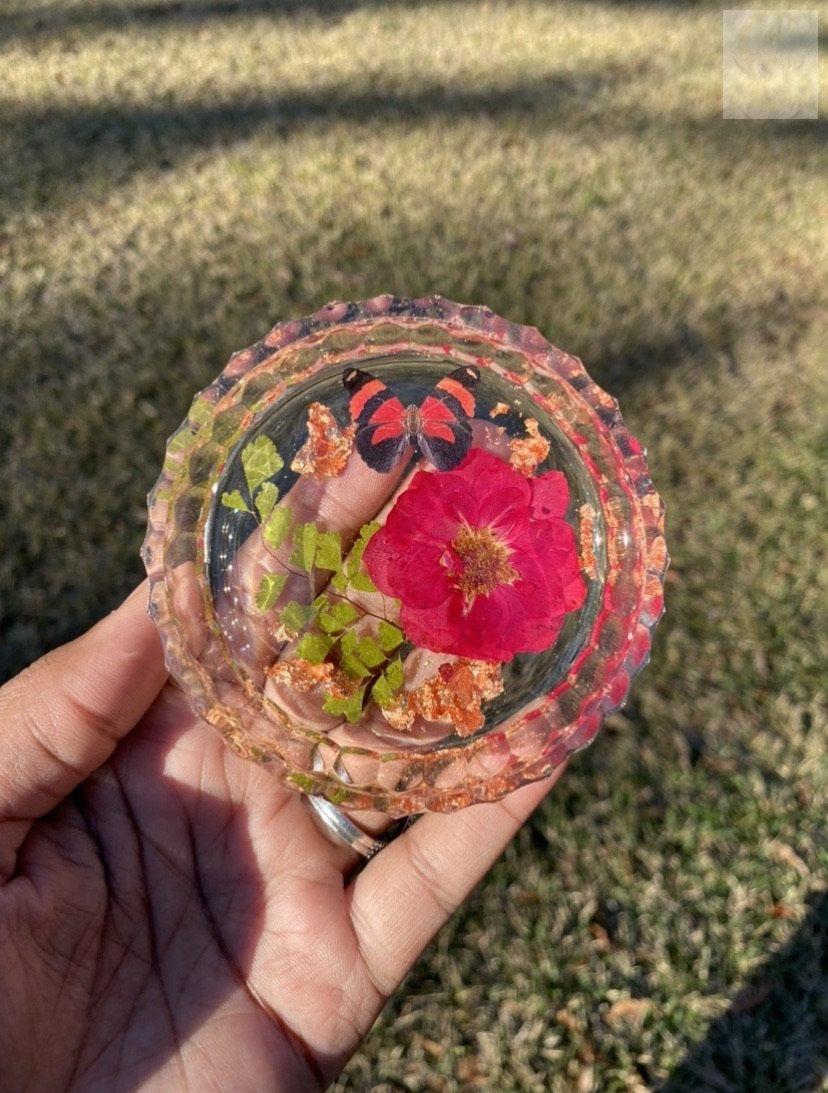 Butterfly Rose Trinket Dish