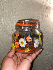 XL Orange Floral Stash Jar