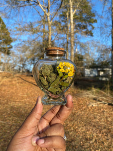 Yellow Bridal Wreath Heart Stash Jar