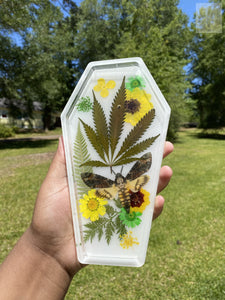 Yellow and Green Cannabis Coffin Tray