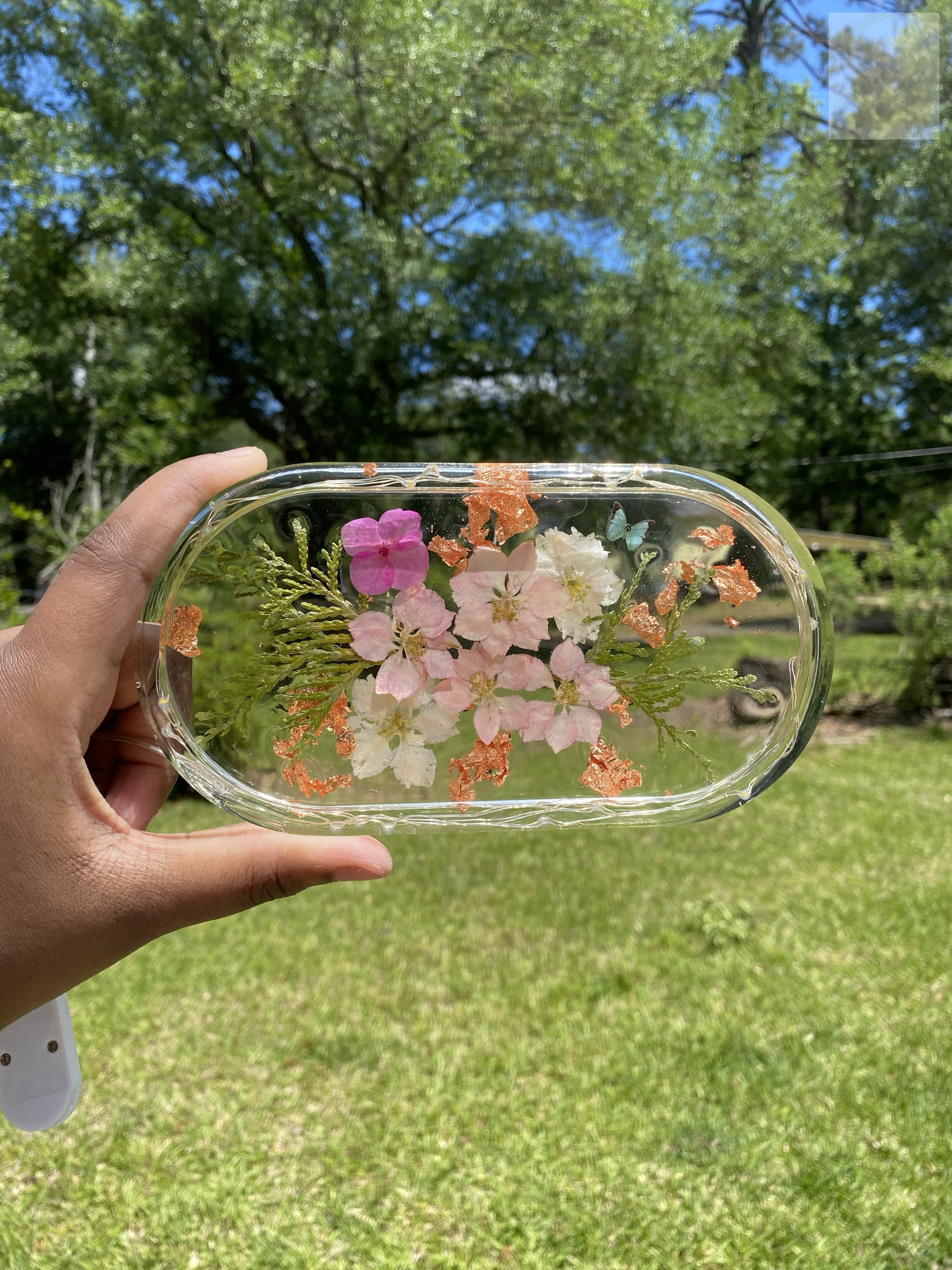 Pink Larkspur Rolling Tray