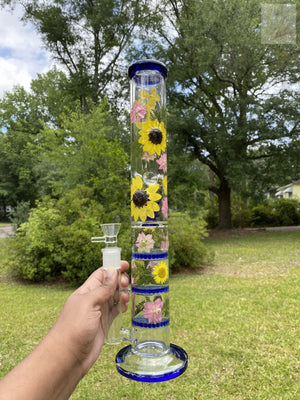 "17 "" Sunflower Bong w Three Honey Comb Perc"
