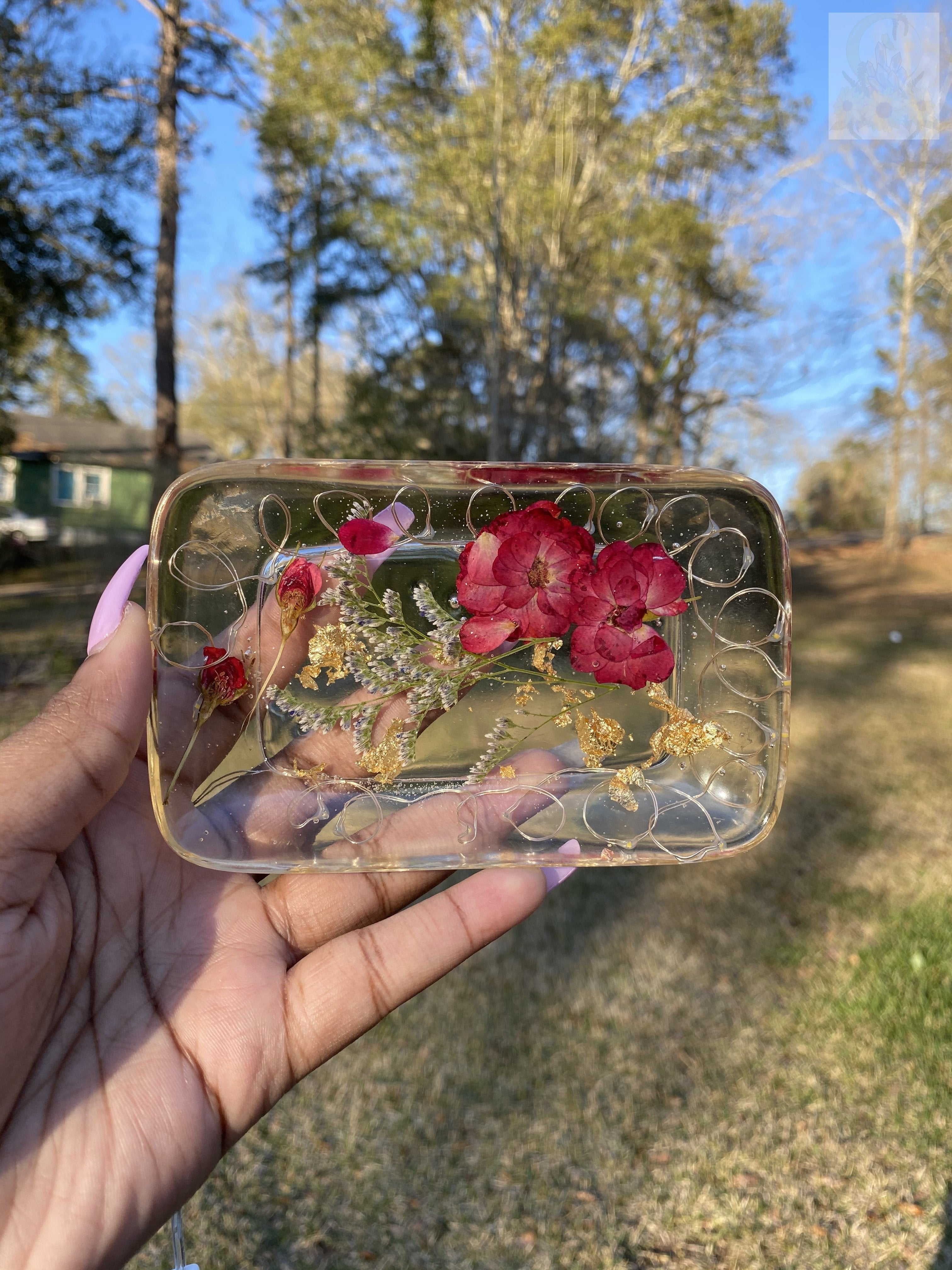 Yellow Light LED Rose Rolling Tray