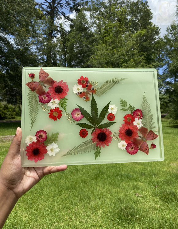 Glow in the Dark 420 Red Themed XXL Rolling Tray