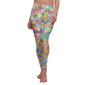 "Abstract ""Floral"" Women's Cut & Sew Casual Leggings - DCups"