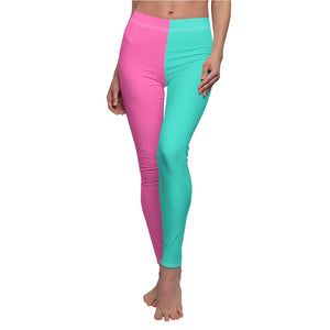 "Two Tone ""Pink/Turquoise"" Women's Cut & Sew Casual Leggings - DCups"