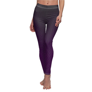 "Abstract ""Purple Diagonal"" Women's Cut & Sew Casual Leggings - DCups"