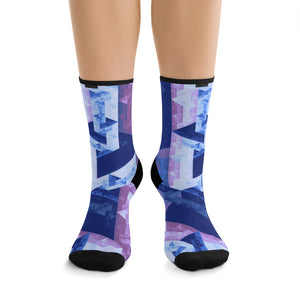 "Abstract ""Blue Aztec"" DTG Socks - DCups"