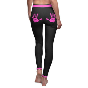 "Handprint ""Pink"" Women's Cut & Sew Casual Leggings - DCups"