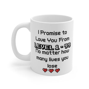 "For Couples ""Love You From Level 1-99"" White Ceramic Coffee Mug - 11oz or 15oz - DCups"