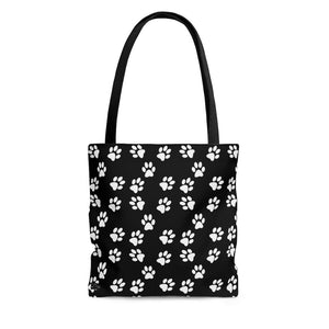 "Pattern ""Paws (Black)"" Tote Bag - DCups"