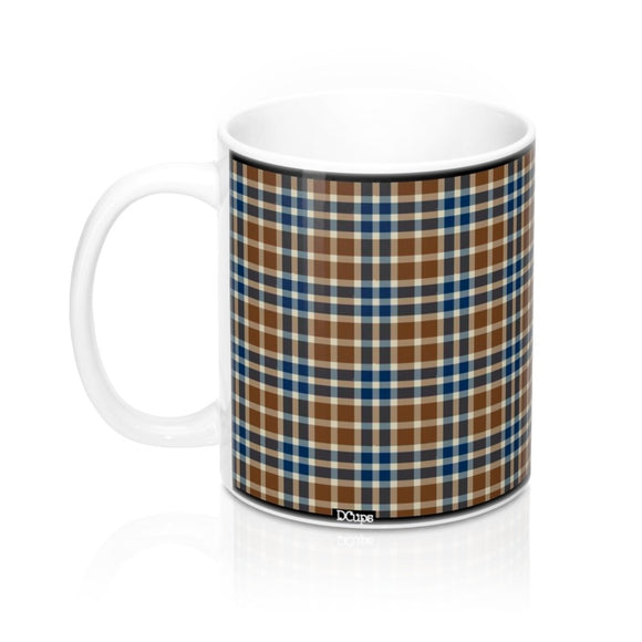 Plaid (Cream, Brown, Blue) Mug 11oz - DCups