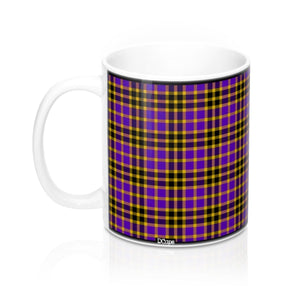 Plaid (Yellow, Purple, Black) Mug 11oz - DCups