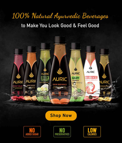 Auric Drinks Ayurvedic Juices Zenith Drinks All Natural Glow Skin Fat Loss Reduce Hairfall Boost Immunity Giloy Tulsi Ashwagandha Amla PCOD PCOS Clear Acne Pimple Get Slim No Preservative Added Sugar No Chemical Rich Antioxidants Collagen Boost