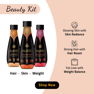 Auric Collagen Beauty Kit Ayurvedic Juices Zenith Drinks Weight Balance Fat Loss Get Slim Skin Radiance Glowing Remove Acne Anti-Ageing Hair Boost Reduce Hairfall Strong Hair Amla Aloe Vera Garcinia Berries Herbal