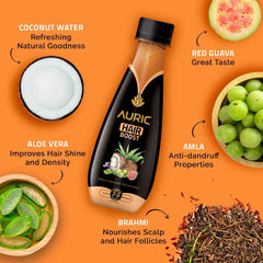 Auric Hair Boost for Long and Strong Hair. 3 Ayurvedic Herbs in Coconut Water with no chemicals preservatives or sugar