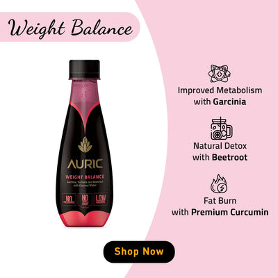 Auric Weight Balance Get Slim Juice for Men and Women to Lose Weight with Ayurvedic Recipe. Contains Garcinia Cambogia, Beetroot, Cumin to Improve Metabolism and Burn Fat. All Natural. No Side Effects. No Preservative. No Chemical. No Added Sugar.