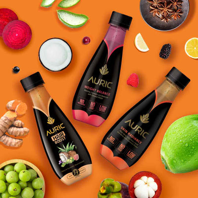 Beauty Drinks by Auric for Glowing Skin, Strong Hair and Fat Loss. Contains Garcinia Cambogia for Fat Loss, Gotu Kola for Collagen Builders and Skin Care, Amla and Brahmi for Reducing Hairfall. No Added Sugar. No Preservative. Ayurvedic Ready to Drink Juice.