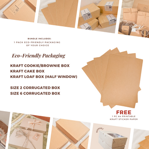 Eco-Friendly Kraft Cookie/Brownie Box (20 pcs) + FREE Printable Sticker