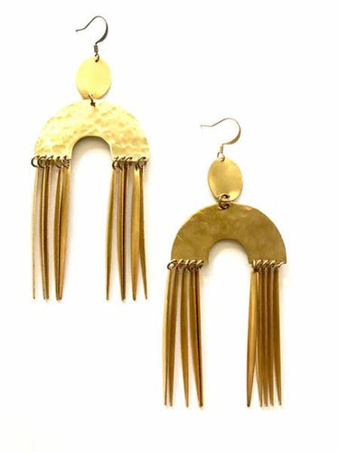 Crescent Brass Tassel earrings