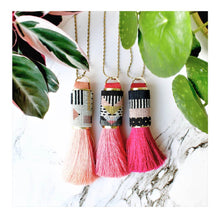 Load image into Gallery viewer, Light Pink Silk tassel beaded necklace