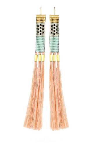 Delicate long beaded salmon colored tassel earrings