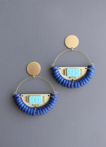 Turquoise glass and blue magnesite earrings.