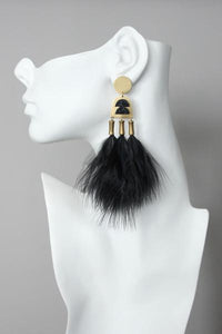 Howlite and black feather earrings