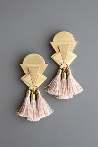Pink silk tassel earrings