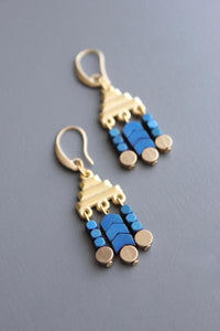18k gold plated blue hematite earrings