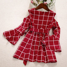 Load image into Gallery viewer, Off Shoulder Plaid Print