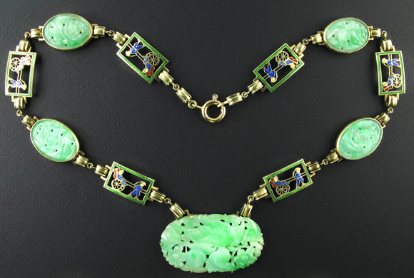 An Art Déco Yellow gold necklace, enamel and Jade