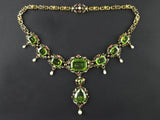 A XIX Century yellow gold, diamond and peridot necklace. Germany, late 19th century. In original fitted box.